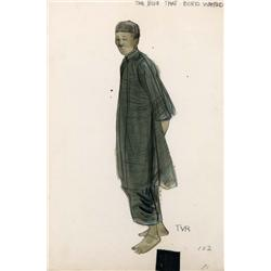 Pair of Theodora Van Runkle costume sketches from Sand Pebbles