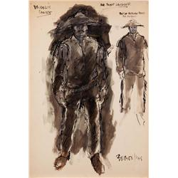 Lewis Brown costume sketch for Burt Lancaster from Valdez is Coming