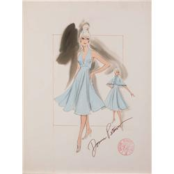 Donna Peterson pair of costume sketches of Goldie Hawn and Rachel Roberts for Foul Play