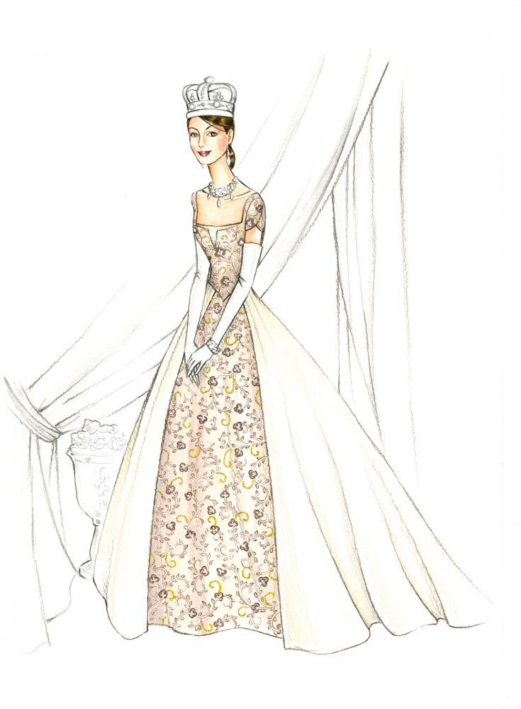 Gary Jones costume sketch of Anne Hathaway for Princess Diaries 2 ...