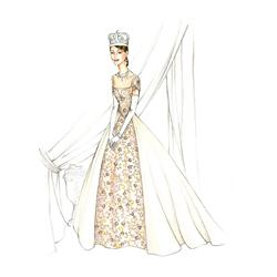 Gary Jones costume sketch of Anne Hathaway for Princess Diaries 2: Royal Engagement