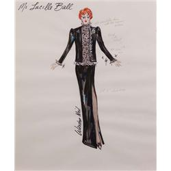 Warden Neil costume sketch of Lucille Ball for Bob Hope TV special (Black velvet and lace)