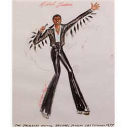 Warden Neil costume sketch of Michael Jackson for The Jacksons TV series (black satin w/ fur tails)