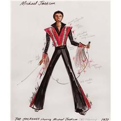 Warden Neil-Michael Jackson cstme sketch fr The Jacksons TV series (blk satin & red fr mtrcycle num)