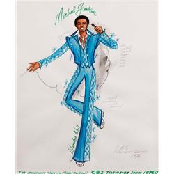 Warden Neil-Michael Jackson cstme sketch fr The Jacksons TV series (bl stn w/ diamnd-quilted insts)