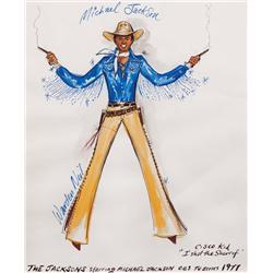 Warden Neil-Michael Jackson cstme sketch fr The Jacksons TV series (Cisco Kid/I shot the Sheriff)