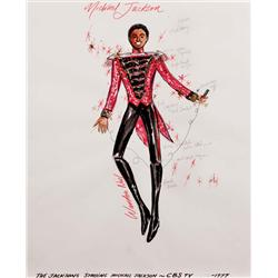 "Warden Neil costume sketch of Michael Jackson for The Jacksons TV series (1st ""military style"" look)"