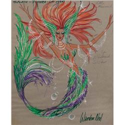 "Warden Neil costume sketch of ""Little Mermaid"" character fr 1986 Riviera/Las Vegas stg musicl Splash"