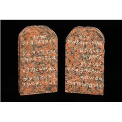Cecil B. DeMille's personal pair of red granite display Ten Commandments tablets