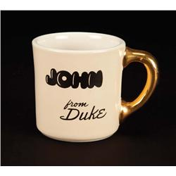 John Wayne custom crew mug from Big Jake gifted to co-star John Agar