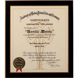 Academy Nomination Certificate plaque for Auntie Mame as Best Picture of 1958