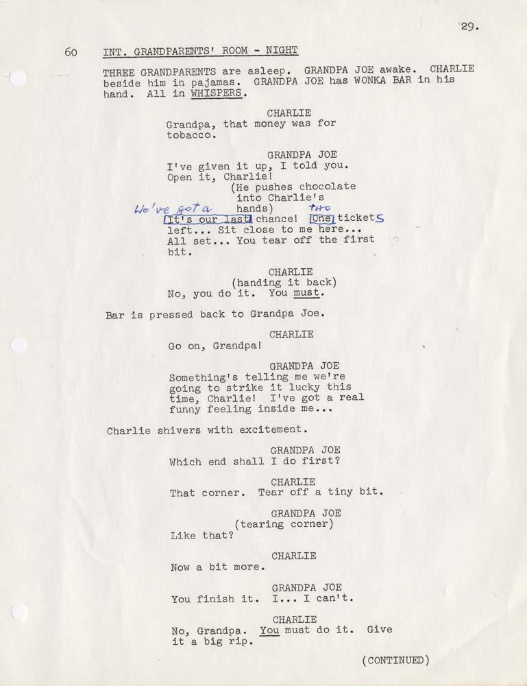 original handannotated script by director mel stuart from