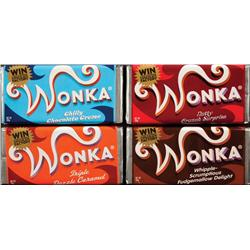 Set of four Wonka bars from Charlie and the Chocolate Factory