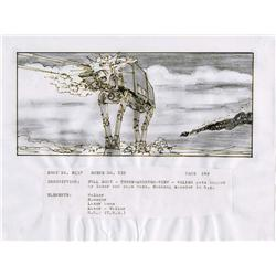 Star Wars: Episode V- The Empire Strikes Back orig strybrd art of AT-AT walker from Hoth battle seq