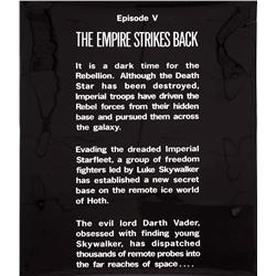 """Original acetate """"crawl"""" used in the beginning of Star Wars: Episode V – The Empire Strikes Back"""
