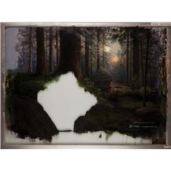 The Ewok Adventure Jim Danforth original acrylic matte painting on glass of the Endor forest