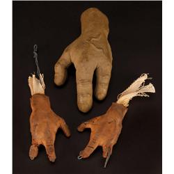 Three screen-used podling hands from The Dark Crystal
