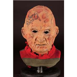Stunt Freddy Krueger mask from A Nightmare on Elm Street: The Dream Child signed by Robert Englund