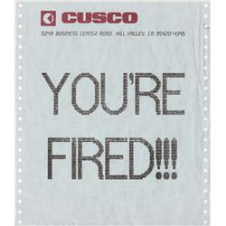 "Michael J. Fox ""Marty McFly"" ""YOU'RE FIRED!!!"" fax from Back to the Future Part II"