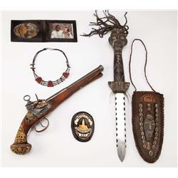 Danny Glovers Hero gun, ID badges, hero necklace & ornate metal Voodoo ritual knife from Predator 2