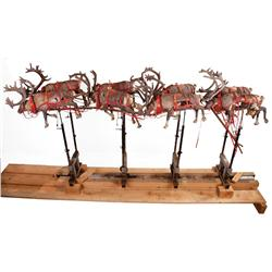 Sleigh with animatronic puppets and reindeer from Santa Claus: The Movie