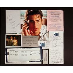 Prop business cards, letters, notes, plane ticket plaque and signed photo from Jerry Maguire