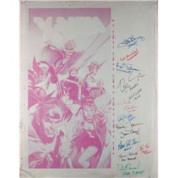 One-sheet printing panel (Cyan) of Jim Lee's X-Men poster art signed by eleven cast members of X-Men
