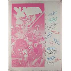 One-sheet printing panel (Magenta) of Jim Lee's X-Men poster art signed by 11 cast mbrs of X-Men
