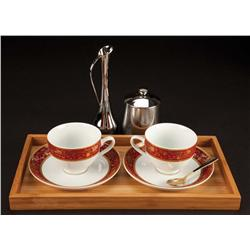 Cappuccino cups w/ saucers, bamboo tray, sugar bowl, spoon & vase frm The Green Hornet