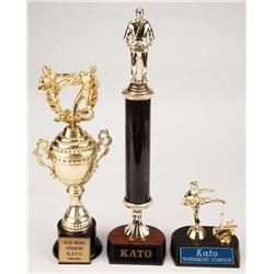 """Kato"" as played by Jay Chou set of three martial arts trophies from The Green Hornet"