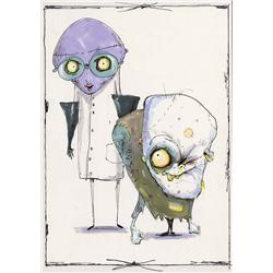 Dr. Finklestein and Igor early concept art from The Nightmare Before Christmas