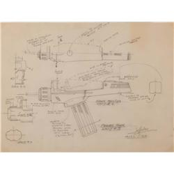 Original Matt Jefferies technical drawings of the Type-1 and Type-2 phasers