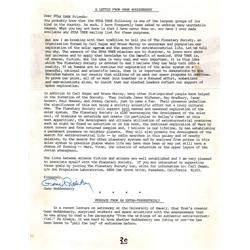Gene Roddenberry signed letter regarding space exploration and the search for extraterrestrial life