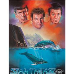 Cheryl Freundt original pastel art of Kirk, Spock, & McCoy from Star Trek IV for Lincoln Enterprises