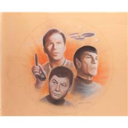 Doug Little original pastel art of Kirk, Spock, & McCoy w/ the Enterprise for Lincoln Enterprises