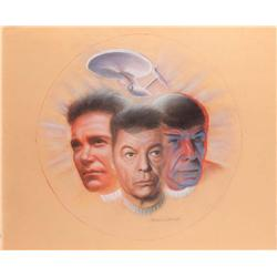Doug Little orig pastel art of Kirk, Spock, & McCoy w/ the Enterprise from The Wrath of Khan