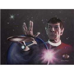 Doug Little orig pastel art of Spock w/ the Enterprise from The Wrath of Khan fr Lincoln Enterprises