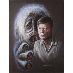 "Doug Little orig pstl art of McCoy w/ ""Salt Creature"" from ""Man Trap"" epd., for Lincoln Enterprises"