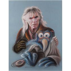 Doug Little original pastel artwork of Ricardo Montalban with a Muppet for Lincoln Enterprises