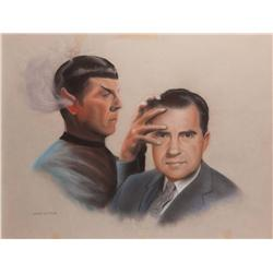 Doug Little original pastel artwork of Spock with Richard Nixon for Lincoln Enterprises