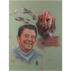 Doug Little original pastel artwork of Ronald Reagan and Klingon commander for Lincoln Enterprises