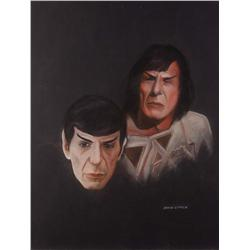 Doug Little orig pstl artwrks (4) of Spock, McCoy, a Klingon, & Kirk from Star Trek: TMP
