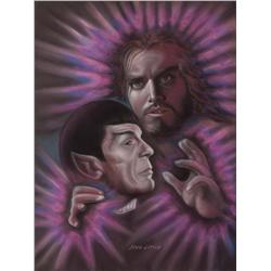 Doug Little original pastel artwork of Spock with Jeffrey Hunter for Lincoln Enterprises