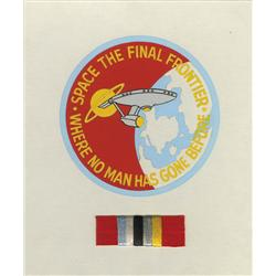 Clct of orig art for embroidered patch designs for Star Trek IV & V, also 10th & 25th Anniversary