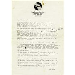 John Lennon Incredible Typed Letter with his handwritten edits, additions and corrections