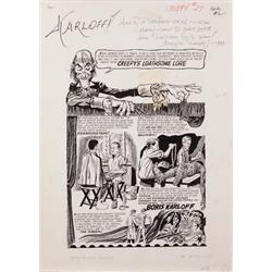 Orig comic art of Boris Karloff by Tom Sutton for Creepy #27 inscribed & signed by Forry Ackerman