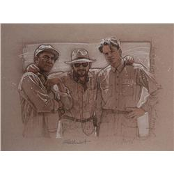 "Frank Darabont, Tim Robbins and Morgan Freeman artwork from ""The Shawshank Redemption"