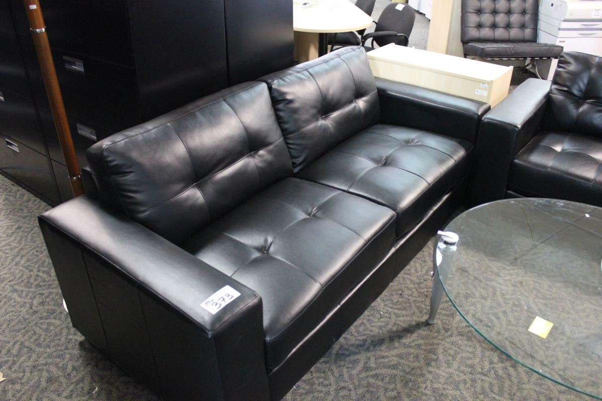 Black Leather Reception Sofa And Loveseat Set Able Auctions