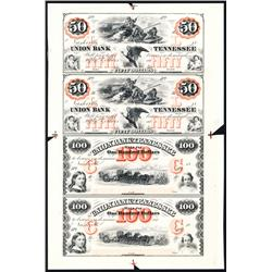 Union Bank of Tennessee Uncut Sheet of 4 Proofs.