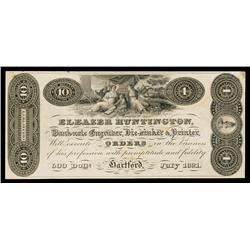 Eleazer Huntington, 1821 Banknote Engravers Advertising Banknote Proof.